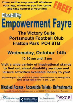 Disability Empowerment Fayre  - 14th October, Portsmouth FC