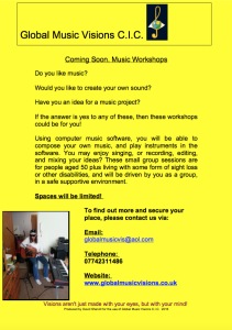 Music Workshops poster for Global Music Visions