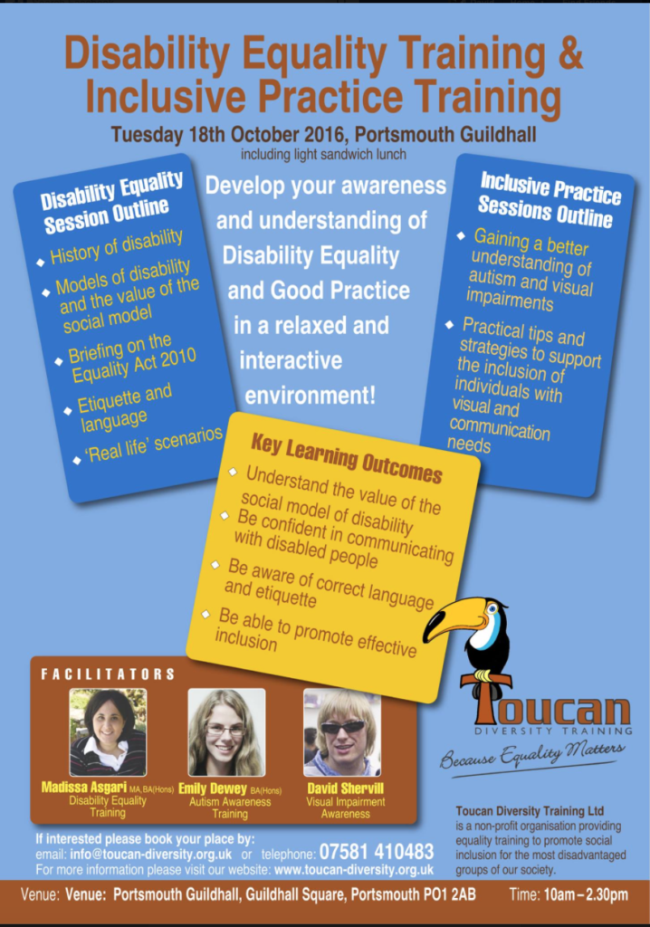 Toucan Diversity Training Disability Equality Training and Inclusive Practice Training