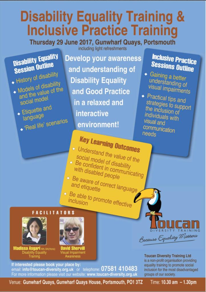 Toucan Diversity Training Ltd. Visual Impairment Awareness Training Event Poster