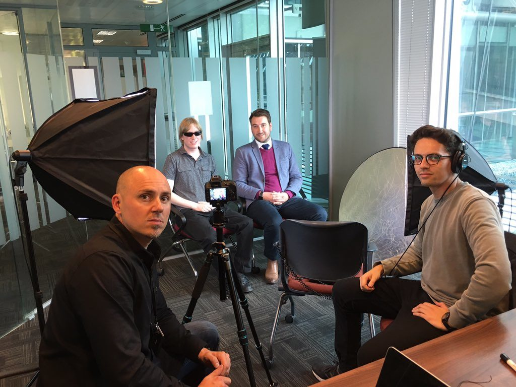 A picture of the team from IOEE, filming with David and his Lloyds mentor.