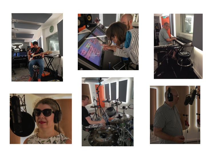 Included are six photos in two rows of three. Top left shows bass guitarist sitting on a stool recording their parts. Bottom left shows female vocalist who is wearing headphones and standing in front of a microphone. Top middle, a group member working on the computer touch screen with the studio engineer. Bottom middle shows the drummer sitting behind the kit, warming up ready to play. Top right shows a group member sitting and playing the keyboard. Bottom right shows male vocalist who is wearing headphones and standing in front of a microphone singing.